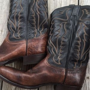 Tony Lama Brown Leather Cowboy Western Boots Mens